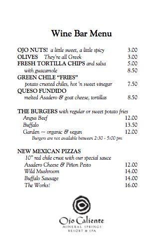 Wine Bar Menu at Ojo Caliente Mineral Springs Resort \ Spa Food - barback resume