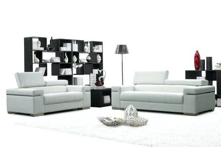 White And Grey Leather Sofa Leather Living Room Set