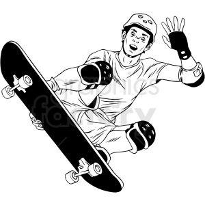 Black And White Skateboarder Doing Tricks Vector Illustration