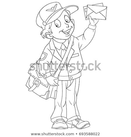 Coloring Page Of Cartoon Boy Mail Man Postman Coloring Book