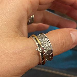 Thumb Ring 925-Antique Silver Ring,Sterling Silver Ring,Handcrafted Boho Ring,Silver With Brass Ring,Spinner Ring,Two Tone Ring Gift For Her