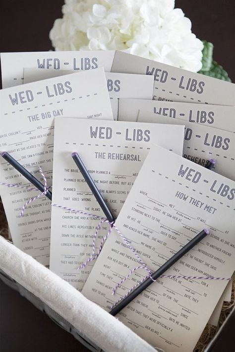 Wedding Mad Libs!  Great way to entertain guests.  via Something Turquoise
