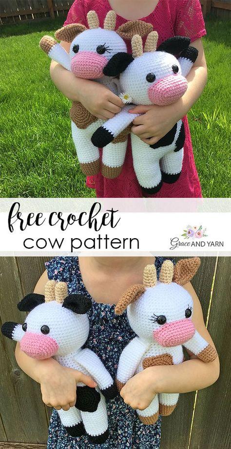 Amigurumi Cow - A Free Crochet Pattern Crochet Cow, Crochet Amigurumi Free Patterns, Crochet Animal Patterns, Stuffed Animal Patterns, Cute Crochet, Crochet Dolls, Baby Patterns, Crochet Stuffed Animals, Octopus Crochet Pattern Free