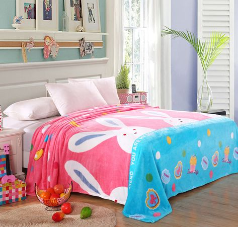 14.77 - Baby Toddler Plush Fleece Bed Throw Cute Rabbit Pattern Sofa  Blanket For Girls  ebay  Home   Garden a482d2f85
