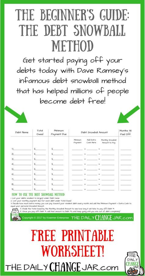 Free Printable Debt Snowball Worksheet- Perhaps the best way to pay - debt consolidation spreadsheet