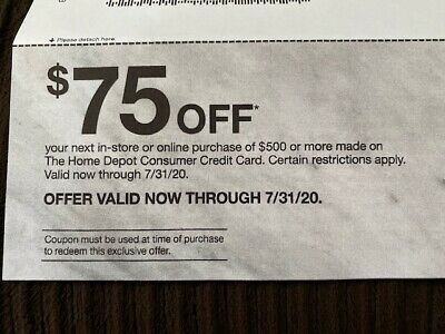Home Depot Coupon 75 Off 500 Online And In Store Use Fast Delivery Home Depot Coupons Depot Coupons