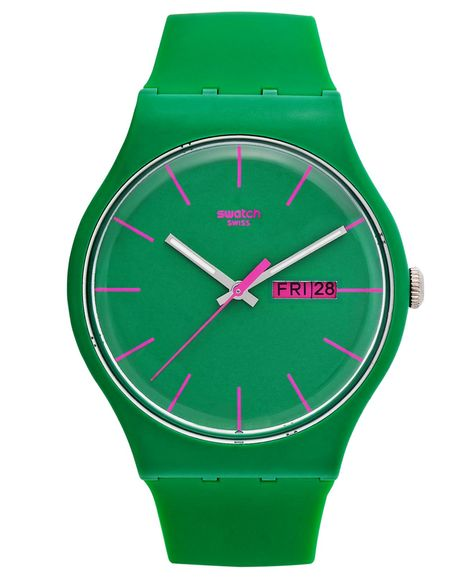 Pink and green Swatch® watch. Unisex so it's oversized, this is a perfect updating of an classic.