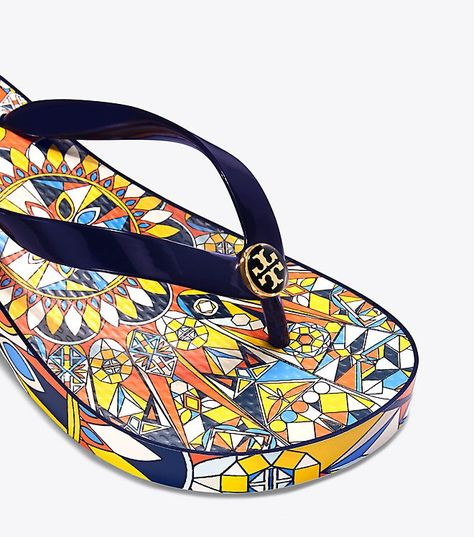 e4b048047e7417 Tory Burch Carved Wedge Flip-Flop - Navy Sunny Blue Octagon Sq Scarf 10