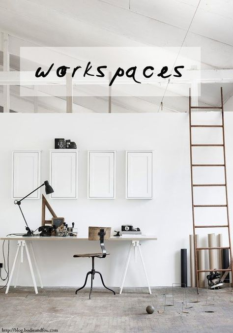 BODIE and FOU Style Blog 5 Inspiring, white workspaces http://blog.bodieandfou.com/