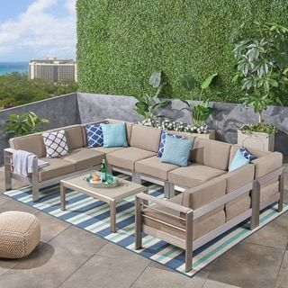 Cape Coral Outdoor 9 Seater Aluminum Sectional Sofa Set With Coffee Table By Christopher Knight Home Outdoor Sectional Sofa Patio Furniture Deals Noble House