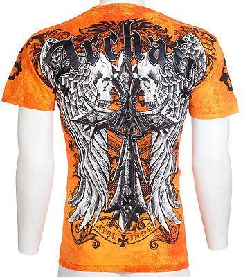 ARCHAIC by AFFLICTION NATION Skull Wings US Flag MMA Biker Men/'s T-Shirt