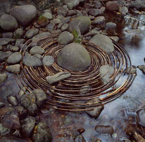 Andy Goldsworthy: Natural Man Sculptor- oldsworthy's most time-consuming step in the process of laying curved sticks around a river boulder in Woody Creek, Colorado, was finding the right sticks. Land Art, Art Et Nature, Nature Artists, Natural Man, Natural Forms, Mandala Art, Andy Goldsworthy Art, Illusion Kunst, Art Environnemental