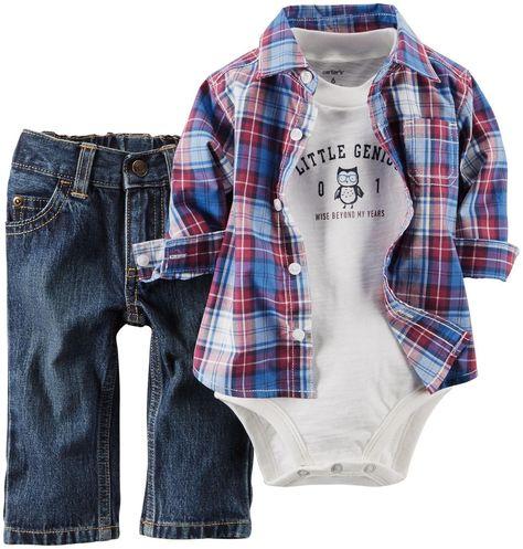 Amazon.com: Carter's Baby Boys' 3 Piece Plaid Top Set (Baby): Clothing