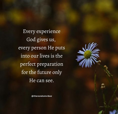 Every experience God gives us, every person He puts into our lives is the perfect preparation for the future only He can see. #PrayingtoGodquotes #Spiritualprayerquotes #Blessingquotes #Everydayblessingsquotes #Blesseddayquotes #Prayerquote #ThankfultoGodquotes #Beinggratefulquotes #FaithinGodquote #Godstimingquotes #TimingofGodquotes #BeliefinGodquotes #TrustintheLordquotes #MercyofGodquotes #Godslovequotes #Inspirationalquote #Religiousquote #Spiritualquote #Quotesforhardtimes #therandomvibez