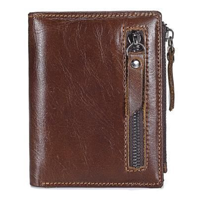 New Genuine Leather Mens Wallet ZIPPER Coin Purse Vintage Retro Styl