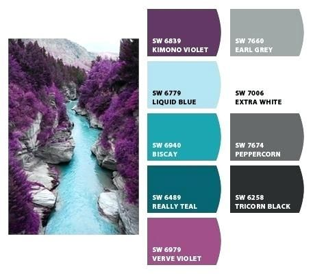 Image Result For What Goes With Purple And White Apartment Color Schemes Purple Color Schemes Teal Color Schemes