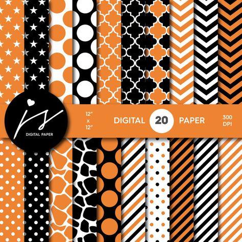 Squash orange and black digital paper with polka dots, stripes, chevron, damask…