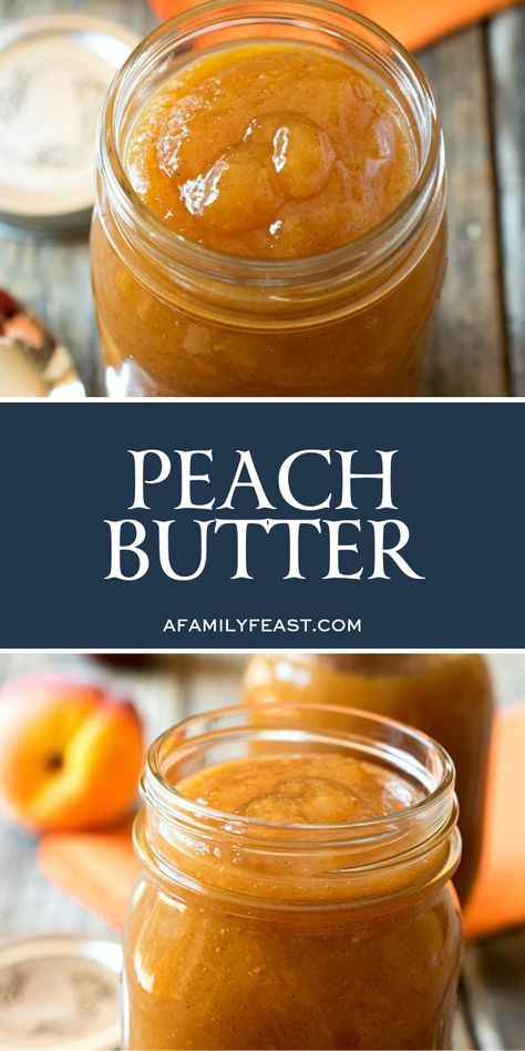 This peach butter recipe is very easy to make and delicious over ice cream spread on buttered toast spooned over pork chops or eaten straight out of the jar! Jelly Recipes, Jam Recipes, Canning Recipes, Fruit Recipes, Canning Tips, Cooker Recipes, Vegan Recipes, Flavored Butter, Homemade Butter