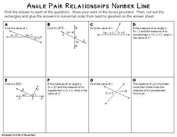 Angle Pair Relationships Worksheet Answers Show Work ...