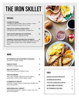 Easy Breakfast Menu Templates From Real Designers Musthavemenus In 2020 Breakfast Menu Design Simple Breakfast Menu Breakfast Brunch Menu