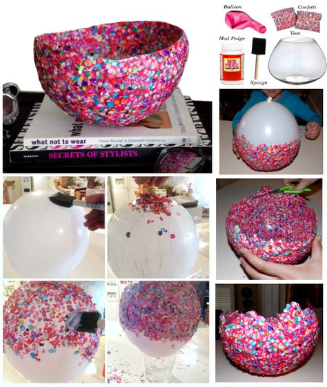 (DID THIS) confetti bowl - Flat confetti is nicer.  Starts create prickly bowls.  Easy instructions, a bit more complicated to make.  Three layers is good.  Used Mod Podge.