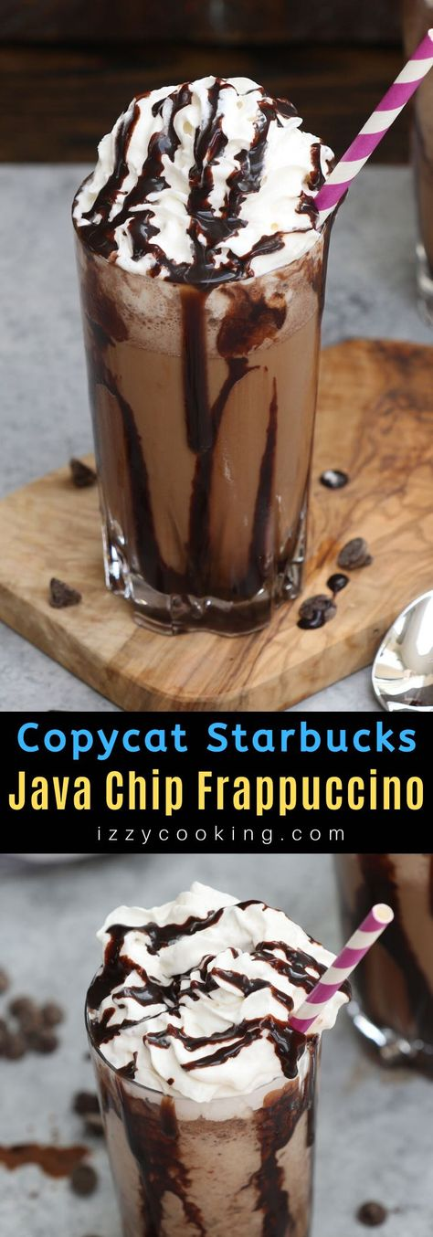 hurricane food ideas This copycat recipe for Starbucks Java Chip Frappuccino is the real deal! It gives you all the delicious flavor of the store-bought drink at the fraction of th Java Chip Frappachino, Frappachino Recipe, Frappe Recipe, Chocolate Chip Frappachino, Chocolate Frappuccino Recipe, Java Recipe, Starbucks Java Chip Frappuccino, Homemade Frappuccino, Coffee Drink Recipes