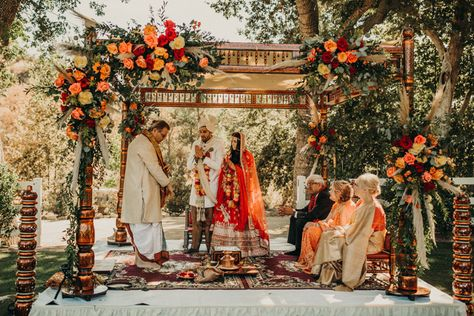 This Couple Infused Southern California Style Into Their Traditional Indian Wedding at Brookview Ranch This California wedding was a summer dream come true with stunning vibrant florals Hindu Wedding Ceremony, Wedding Mandap, Desi Wedding, Wedding Dress, Indian Wedding Receptions, Wedding Stage, Casual Wedding, Wedding Ring, Southern California Style