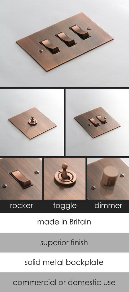 <span style='color: #000000;'>Brushed Copper Electrical Light Switch (124D)</span>