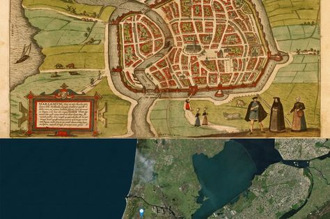 Haarlem, #Netherlands #Map: Then(1575) and Now(2015) #OldCities ...