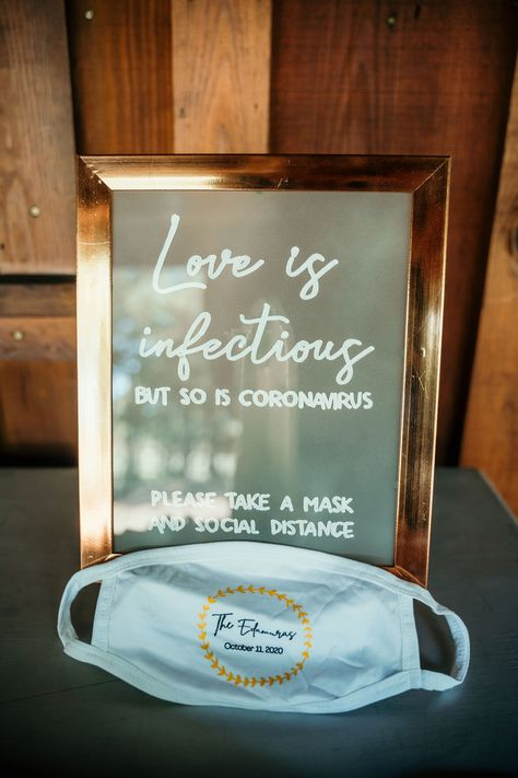 A good way to remind your guest to practice safe socializing for weddings during COVID-19! Photo by Tolman Media. #texasoldtown #placestogetmarried #weddingvenue #texashillcountry #texaswedding #texasweddingvenue #austinwedding #austinweddingvenue #sanantoniowedding #covid #coronavirus #covidbride #covidwedding #weddingideas