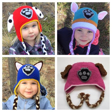 Kids Childrens Boys Blue Red Paw Patrol Chase Marshall Winter Hat With Ears