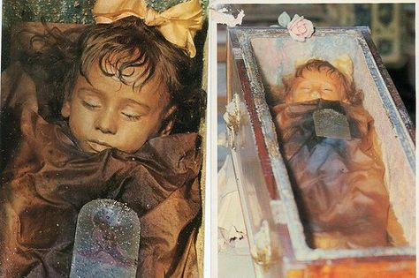 """Most beautiful mummy in the world """"Rosalia Lombardo""""___born in 1918 in (Palermo, Sicily). She died in 1920__Her father, General Lombardo, was sorely grieved upon her death, & wanted to preserve her. Her body was one of the last corpses to be admitted to the Capuchin catacombs of Palermo in Sicily."""