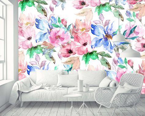 Removable Wallpaper Mural Peel Stick Nursery Wallpaper Etsy Mural Kertas Dinding Dinding Bunga