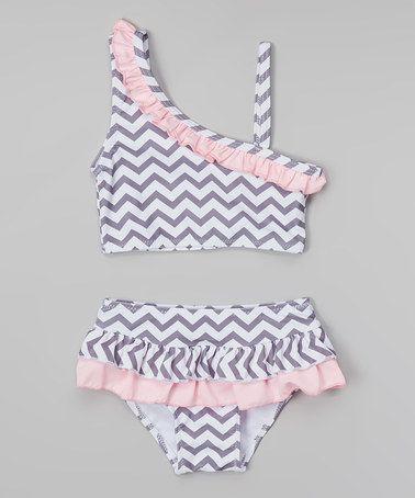 Another great find on #zulily! Pink & Gray Zigzag Asymmetrical Bikini - Toddler & Girls #zulilyfinds