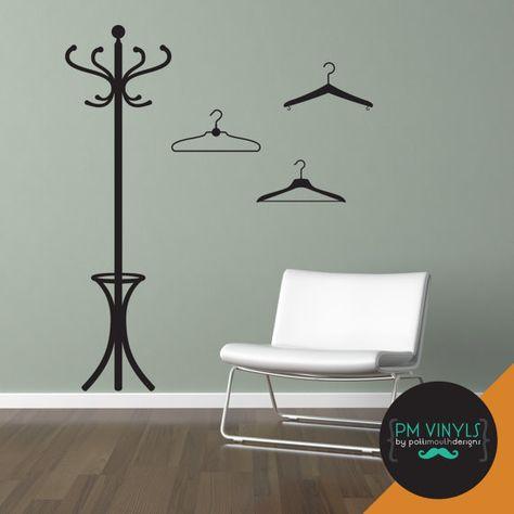 coat hanger vinyl wall decal - fur001 | wall decals | pinterest