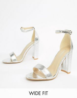 Glamorous Wide Fit Silver Barely There Block Heeled Sandals Sandals Heels