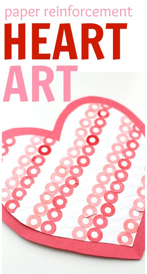 Valentines Day Art using paper reinforcements!  It is great for fine motor practice too!