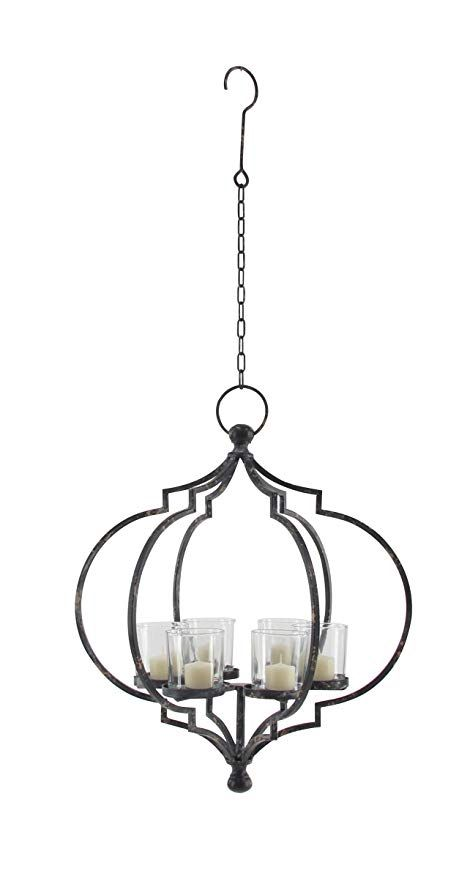 Deco 79 Candle Chandeliers Medium Black Clear Candle