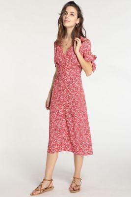 ROUJE Paris Laura tie sleeve floral midi dress in red Jeanne