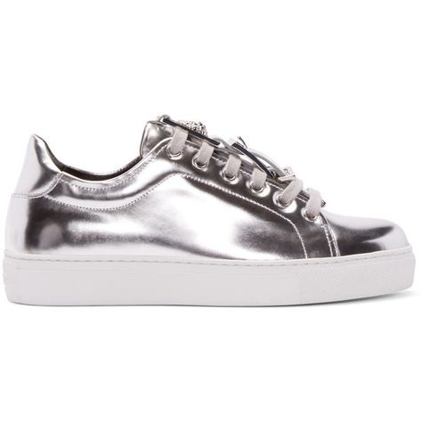 Versus Silver Low Top Sneakers ($340) ❤ liked on Polyvore