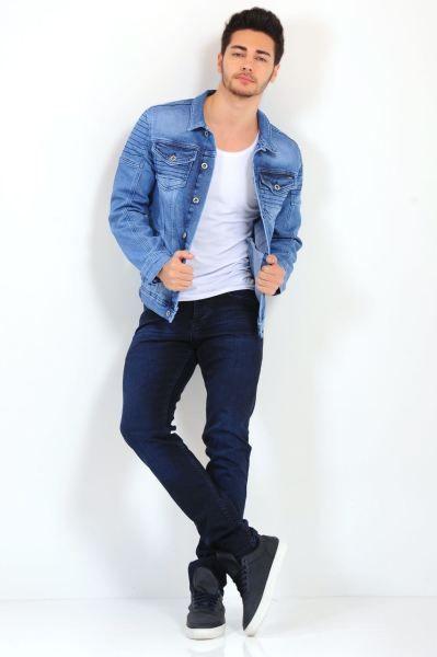 Erkek Kot Ceket Omuz Detay Cift Cep Mavi Kot Ceket 2018 Stil Modelleri Spor Hamile Alisveris Rahat Moda Kombin Salas Cool K Kot Ceket Moda Kotlar