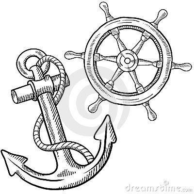Ships wheel and anchor drawing