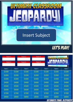 Ultimate Jeopardy Template Jumbo Size Board Jeopardy Template