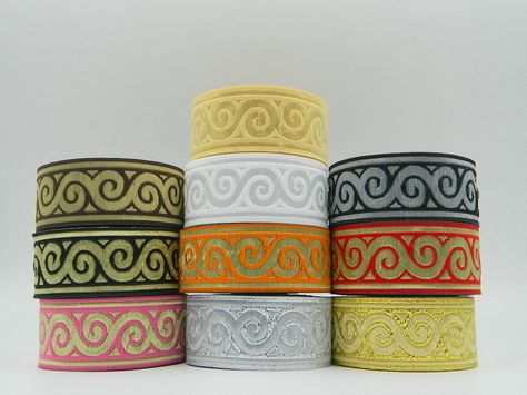 10m Embroidered  Ribbon//Trim Medieval   33mm width Various colours available