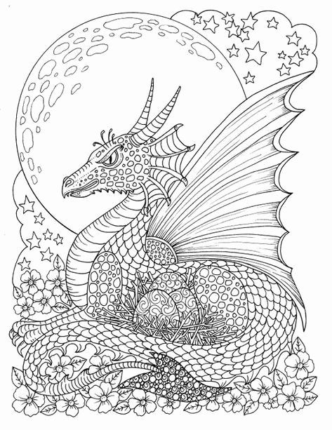 - Dragon Coloring Pages For Adults En 2020 Coloriage Dragon, Coloriage,  Coloriage Cheval