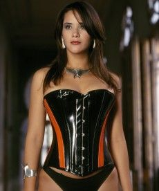 2f716eaf05 Siren Corset - Overbust corset shown in black PVC with orange panels.  Available in black PVC with purple panels