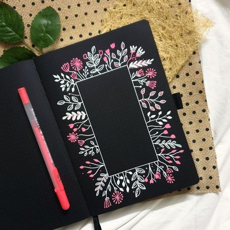 Floral Art Archer and Olive Blackout Book Illustration | Archer and Olive | On the blog, I'm sharing how to frame quotes and handlettered art with floral art using gelly roll pens and our Blackout Journal! #doodle #illustration #bujo