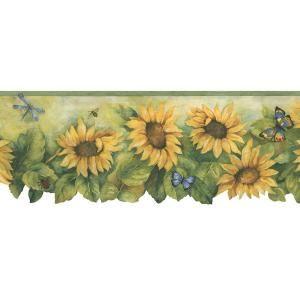 Navy Blue Sunflower 41678110 Wallpaper Border Etsy Wallpaper Border Sunflower Wallpaper Floral Wallpaper Border