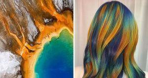 خبيرة في تلوين الشعر تنقل جمال الطبيعة الأخاذ إلى شعر زبوناتها Hair Designs Nature Images Celebrity Hairstyles