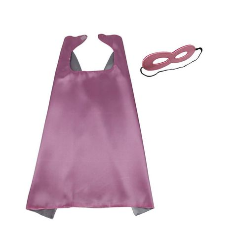 Pink & Silver Superhero or Princess Reversible Cape & Mask Costume Set